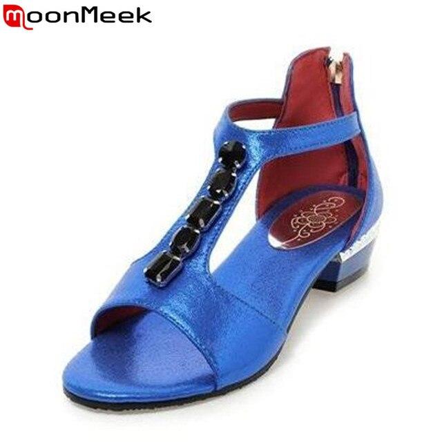 Перевозка груза падения молнии Четыре цвета сандалии женщин квадратных каблуках горный хрусталь летние модная обувь платье леди обувь