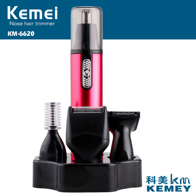 T145 kemei 4 in 1 electric nose trimmer beard shaver for nose & ear men's ear nose hair cutter women face care nose hair trimmer