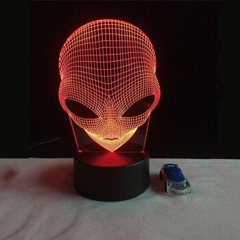 Lampe 3D alyen Theory Veuillez avec tête alien 1