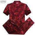 Camisas de seda Homens Verão 2016 Camisa Do Dragão Pant Ternos Plus Size Camisa De Seda chinesa Kung Fu Camisa Gola Mandarim Terno De Casamento Vermelho