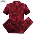 Silk Shirts Men Summer 2016 Dragon Shirt Pant Suits Plus Size Chinese Silk Shirt Mandarin Collar Red Wedding Suit Kung Fu Shirt