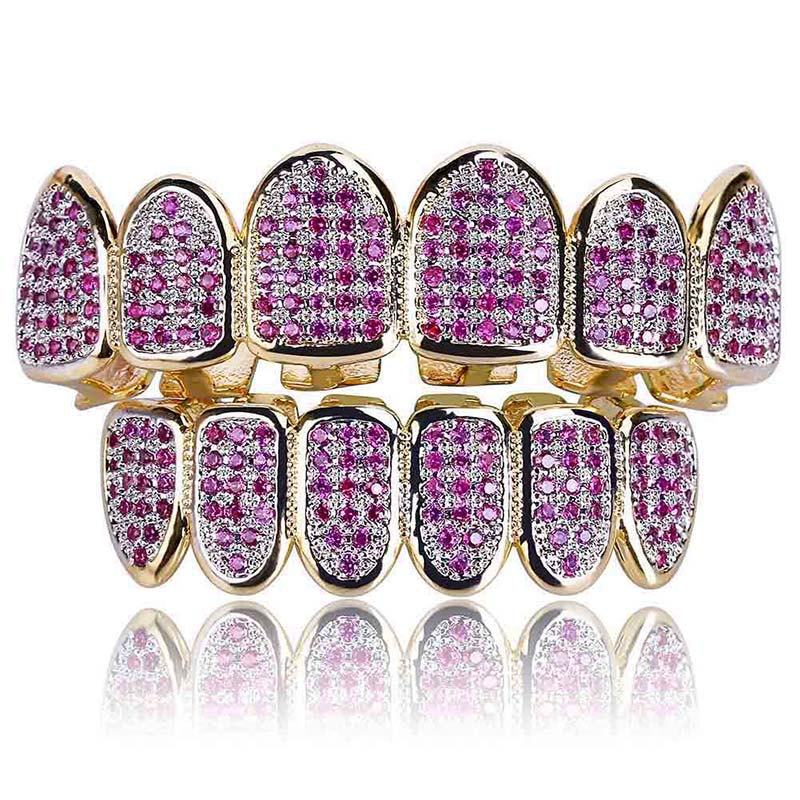Hip Hop Gold Fang Top Bottom Teeth Grillz Set for Men Purple Zirconia Paved Bling Iced Out Rapper Jewelry цены