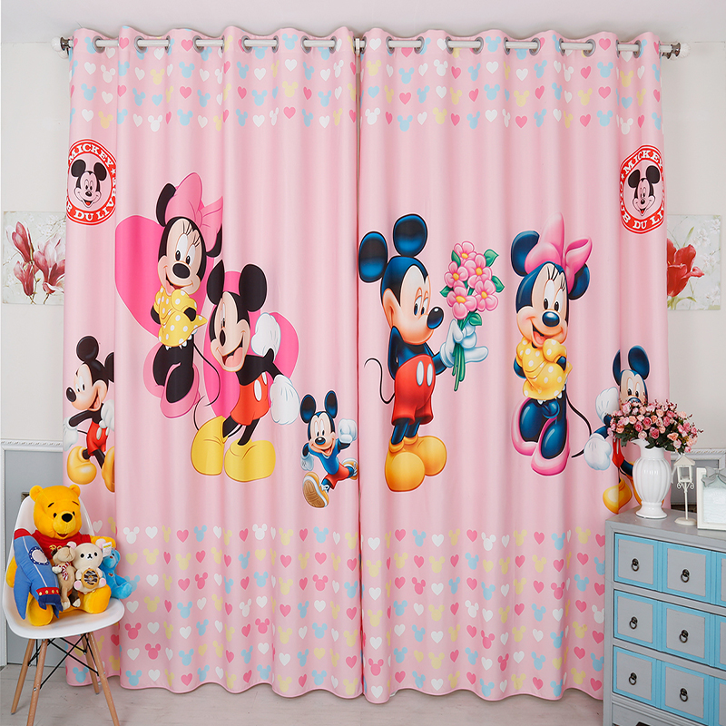 Us 45 0 Custom Made 2x Window Drapery Curtain Nursery Kids Children Room Dressing Tulle 200cm X 260cm Minne Mickey Mouse Pink In Curtains