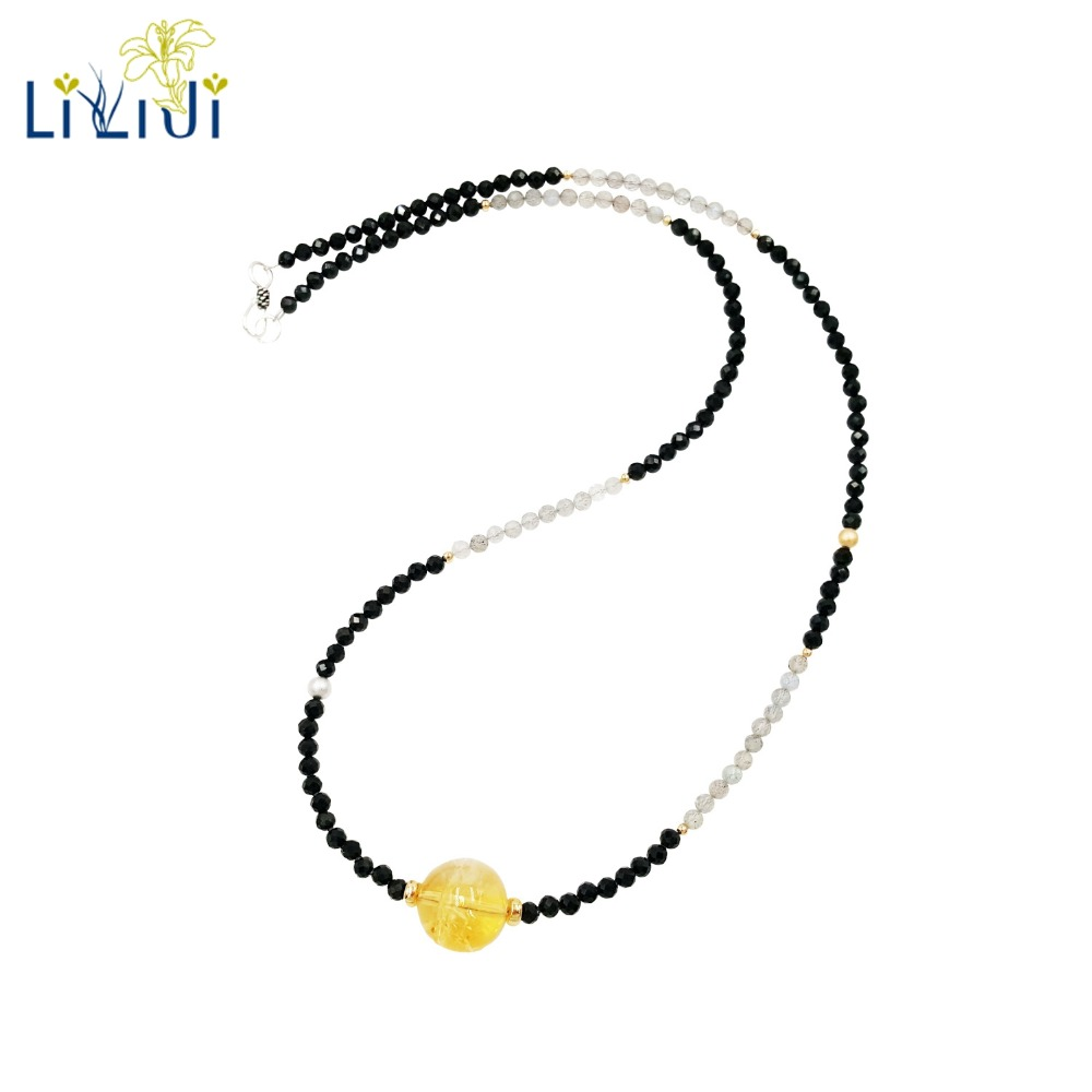LiiJi Unique Natural Shining Black Spinels,Labradorite,Citrines 925 Sterling Silver Gold Color Necklace for Men/Women Jewely