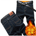 Winter stretch plus velvet men 's jeans Slim pants feet fall and winter section of youth leisure straight long pants tide