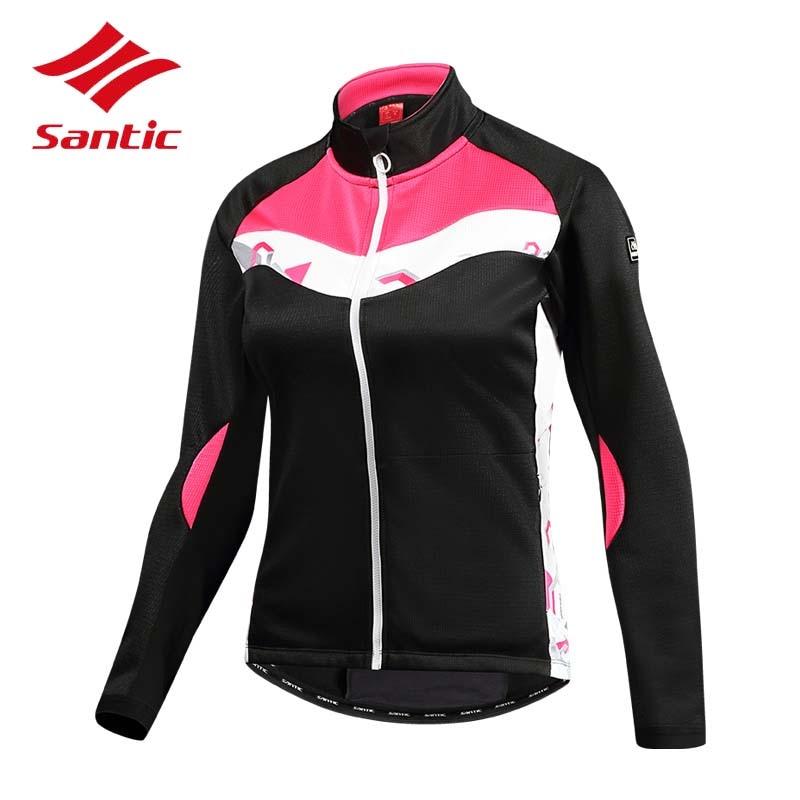 цена Santic Cycling Jacket Women 2018 Winter Windproof Bike Coats Road Bicycle Jersey Thermal Fleece Cycle Clothing Ropa Ciclismo онлайн в 2017 году