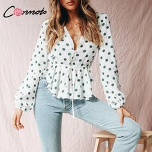 Conmoto Polka Dot Women Tops and Blouse White Chiffon Peplum Ladies Shirts Casual Vintage V Neck Lace up Long Sleeve Blusa Mujer(China)