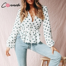 TWOTWINSTYLE Dot Irregular Shirt Female Off Shoulder Backless Ruffles Puff Sleeve
