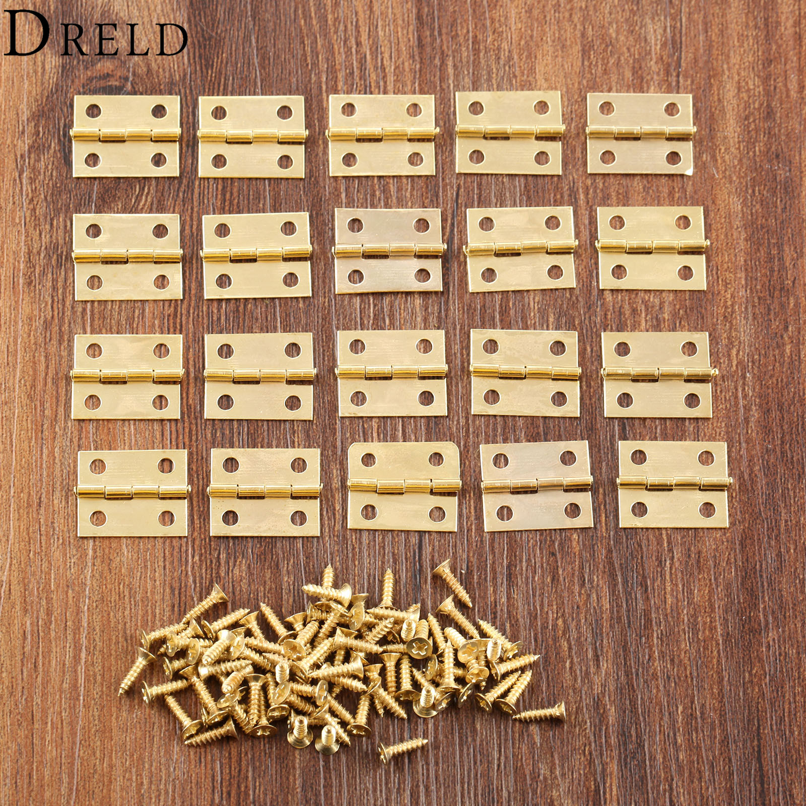 DRELD 20Pcs 18*16mm Mini Cabinet Hinges Furniture Hardware Gold 4 Holes Decorative Small Hinges for Suitcase Trunk Jewelry Box bqlzr 10pcs decorative antiquate vintage spring hinges for furniture diy repair page 1
