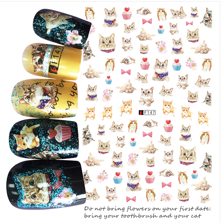 1pcs 3D Super Thin Nail Stickers Tips Nail Art Adhesive Decals Manicure Decoration Cute Cats Kitten Nail Wraps F147 30 pcs floral design manicure transfer nail art tips stickers decals 3d flowers beauty tickers for nails