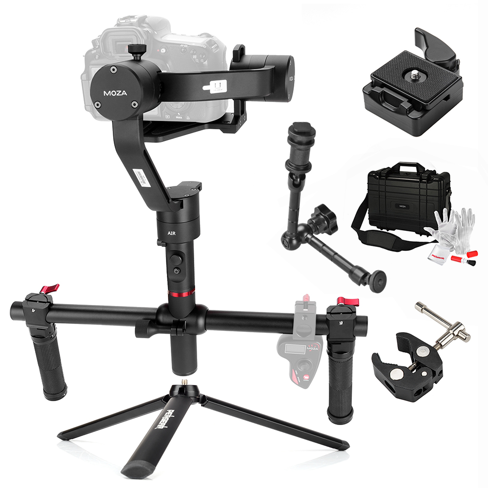 MOZA Air 3 Axis Handheld Gimbal Stabilizer with Magic Arm + Tripod + Pliers 360 Degree Unlimited Rotation for Sony A7 GH5 GH4 5D [hk stock][official international version] xiaoyi yi 3 axis handheld gimbal stabilizer yi 4k action camera kit ambarella a9se75 sony imx377 12mp 155 degree 1400mah eis ldc sport camera black