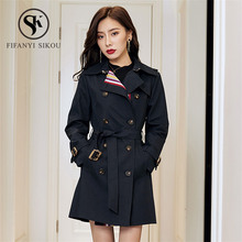 High quality Trench coat women 2019 Fashion Striped Classic Double Breasted Belt