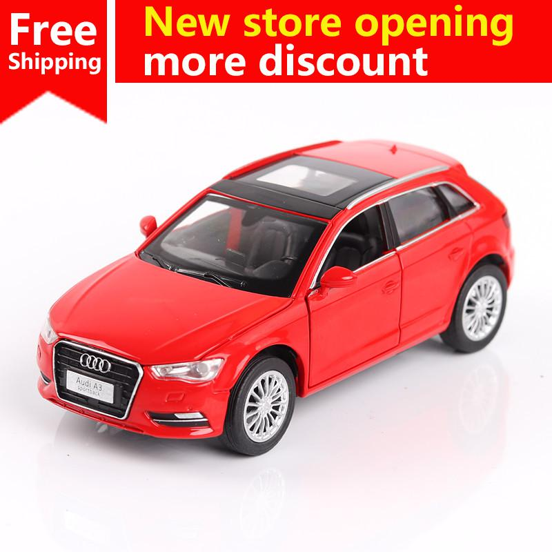 Ant 1:32 Alloy Car Model High Simulation Audi A3 Metal Diecasts Toy Vehicles Pull Back Flashing Musical Kids Toys Free shipping