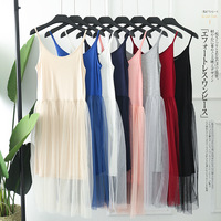 2019 women full slips silk sleeveless anti emptied dress underwear comfortable lace slip dress petticoat woman