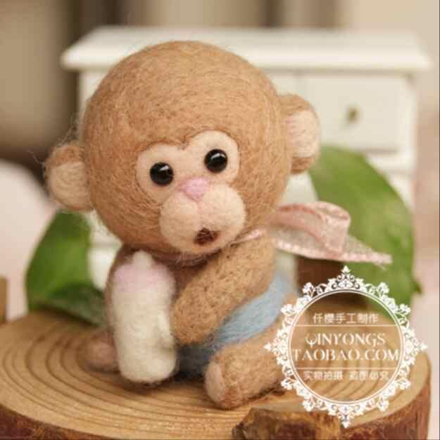 Eggshell обезьяна вишня шерсть фетр шерстяной вышитый Комплект Шерсть фетр игла для валяния украшения Ремесло Вышивка своими руками
