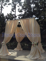 Wedding Canopy Curtain with Stand Pavilion Frame with Backdrop Curtain champagne color 10ft x 10ft x 10ft