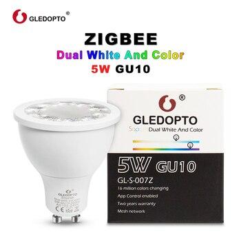 G светодиодный OPTO SOPOSH rgb и двойной белый 5 W GU10 лампы RGBW/CW 2700-6500 K светодиодный spotlight AC100-240V zigbee zll работать с alexa Пульс светодиодный