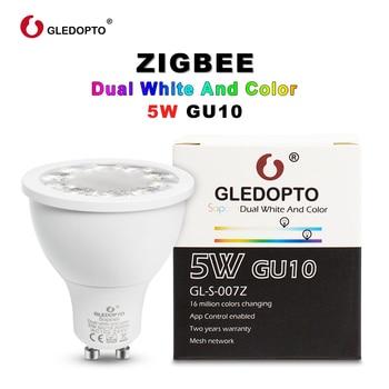 GLEDOPTO SOPOSH rgb ve çift beyaz 5 W GU10 ampul RGBW/CW 2700-6500 K LED spot AC100-240V zigbee zll alexa ile çalışmak artı led