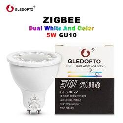 GLEDOPTO SOPOSH rgb y doble blanco 5 W GU10 bombilla RGBW/CW 2700-6500 K foco LED AC100-240V zigbee zll trabajo con alexa puls led