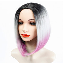 WTB Short Straight Ombre Purple Bob Wig Synthetic Wigs Middle Part Natural Hair Wigs for Women(China)