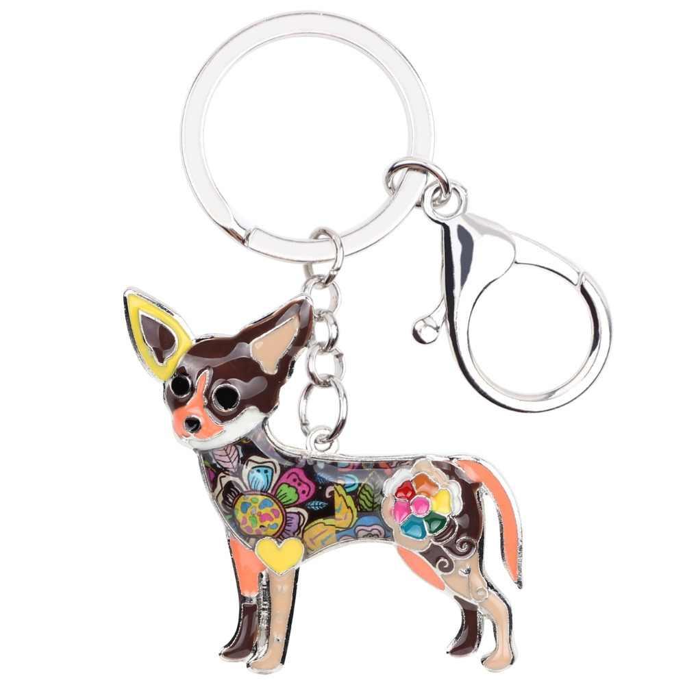 Bonsny эмаль собака породы чихуахуа брелок для ключей подарок для женщин сумка очаровательные украшения со стразами в виде животных брелок аксессуары