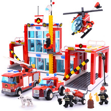 GUDI 9217 Building Blocks Fire Rescue Station Helicopter Truck Airplane Set Bricks Boys Educational Toys For Children gift banbao 7110 fire station firefighters truck helicopter educational building blocks model toy bricks for children kids friends