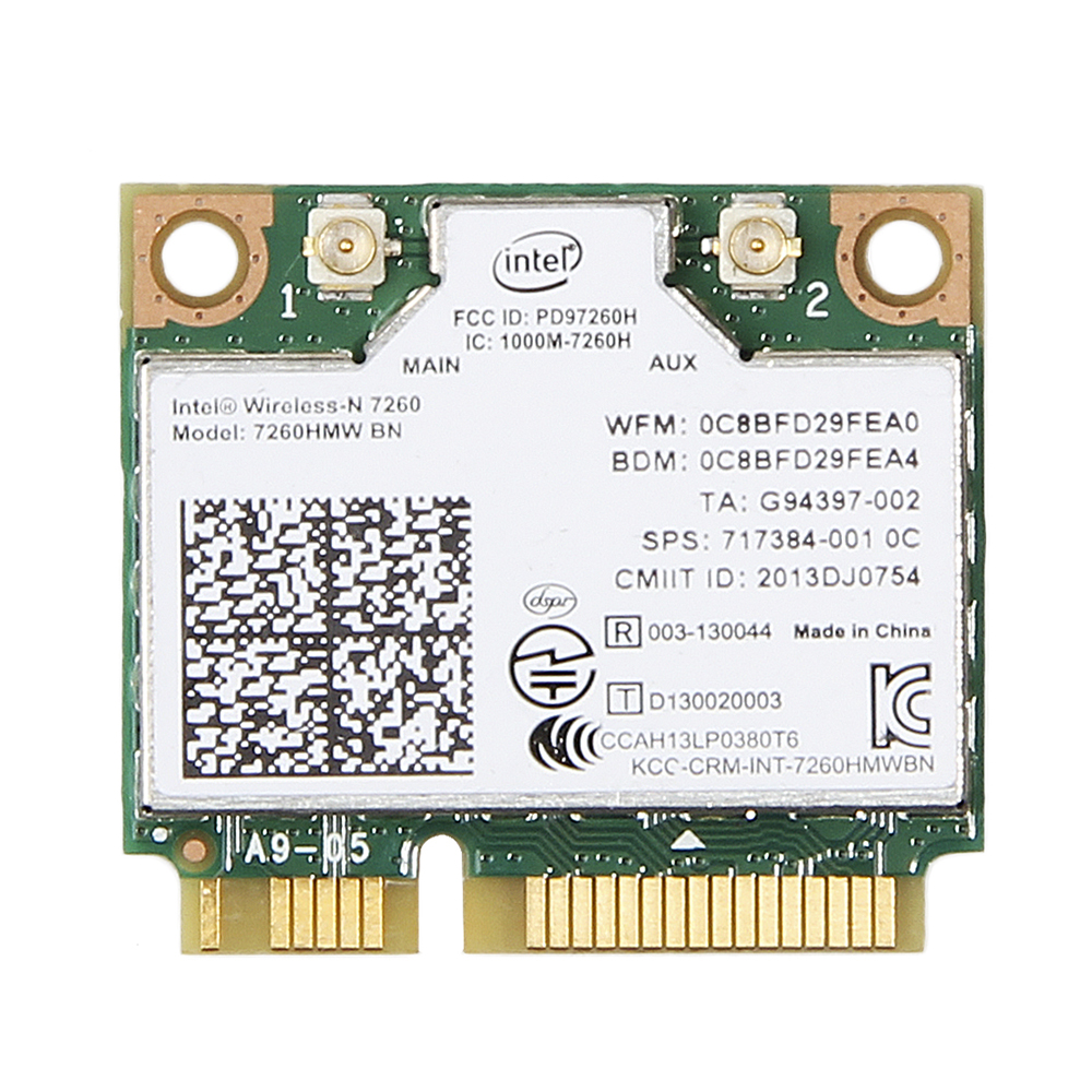 Wireless Adapter Card for Intel 7260 7260HMW BN 802.11bgn 300Mbps Bluetooth 4.0 Mini PCI-E Wifi Card for dell asus acer