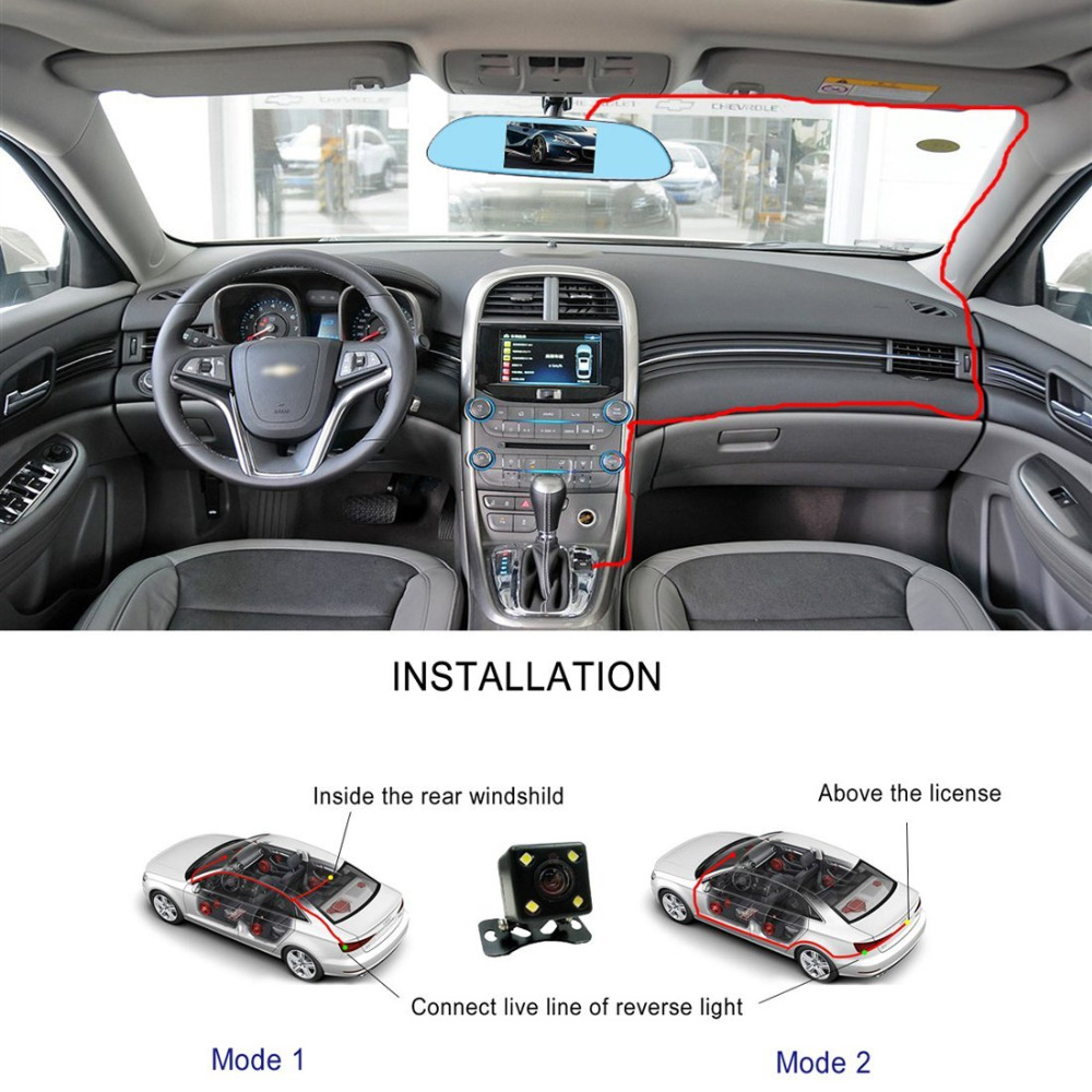 5 quot Touch Screen Car DVR HD LCD Dual Lens Dash Cam 1080P Car Rearview Mirror Video Recorder Camera DVR 170 Degree Night Vision in DVR Dash Camera from Automobiles amp Motorcycles