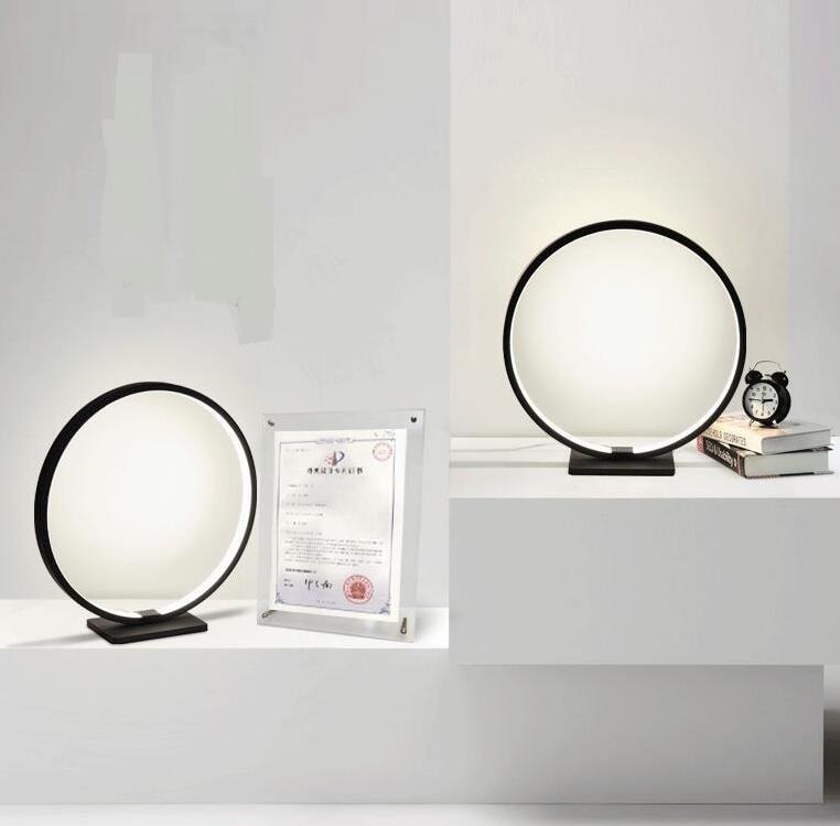 2017 Nordic desk desk lamp magnifying glass iron art office bedside bedroom circular LED desk lamp white black