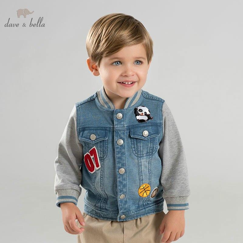 DBM10331 dave bella autumn infant toddler baby boys fashion denim coat children hight quality clothes