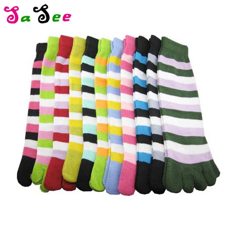 Fashion Striped Cute Five Finger Toe   Socks   Women Harajuku Cotton   Socks   Hipster Streetwear Kawaii Ankle Funny   Socks   Female Meias