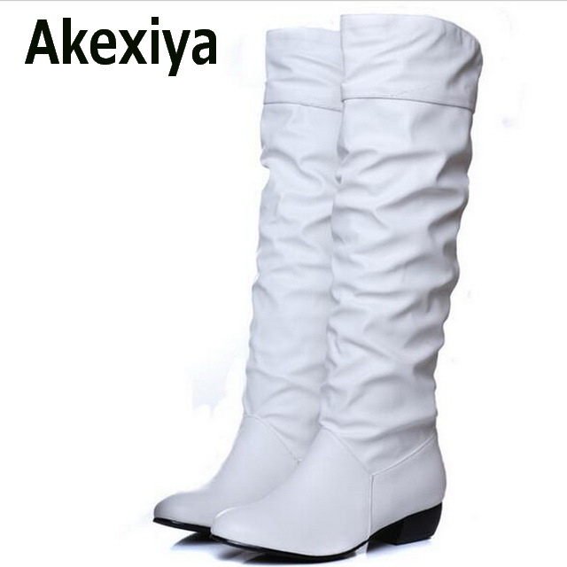Akexiya Plus size 43 fashion new arrival Winter Mid-Calf Women Boots Black White Brown flats heels half boots autumn Snow shoes mid calf women boots black white brown big size 34 43 new winter mid calf women boots black white brown for choice flats shoes
