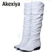 Akexiya invierno mitad de la pantorrilla más el tamaño 43 nueva llegada de la manera mujeres botas Negro Blanco Marrón pisos zapatos de tacón medio botas de Nieve otoño zapatos