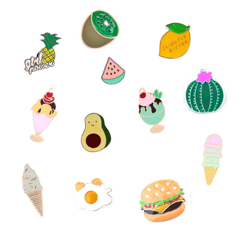 Cute pins collection pineapple banana enamel pin ice cream hamburger Jackets Lapel Fashion Brooches For Women Kids Jewelry gift