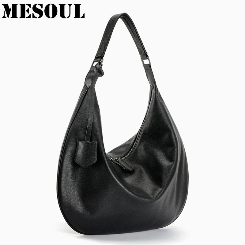 ФОТО Hobos Women's Handbag Shoulder Bags Ladies Genuine Leather High Quality Fashion Black Handbags Luxury Brand Designer Hand Bags