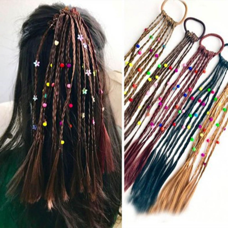 New Fashion Children Wig Braids Multi-color Mini Clip Kids Elastics Hair Bands Girl   Headwear   Style Hair Rope Accessories