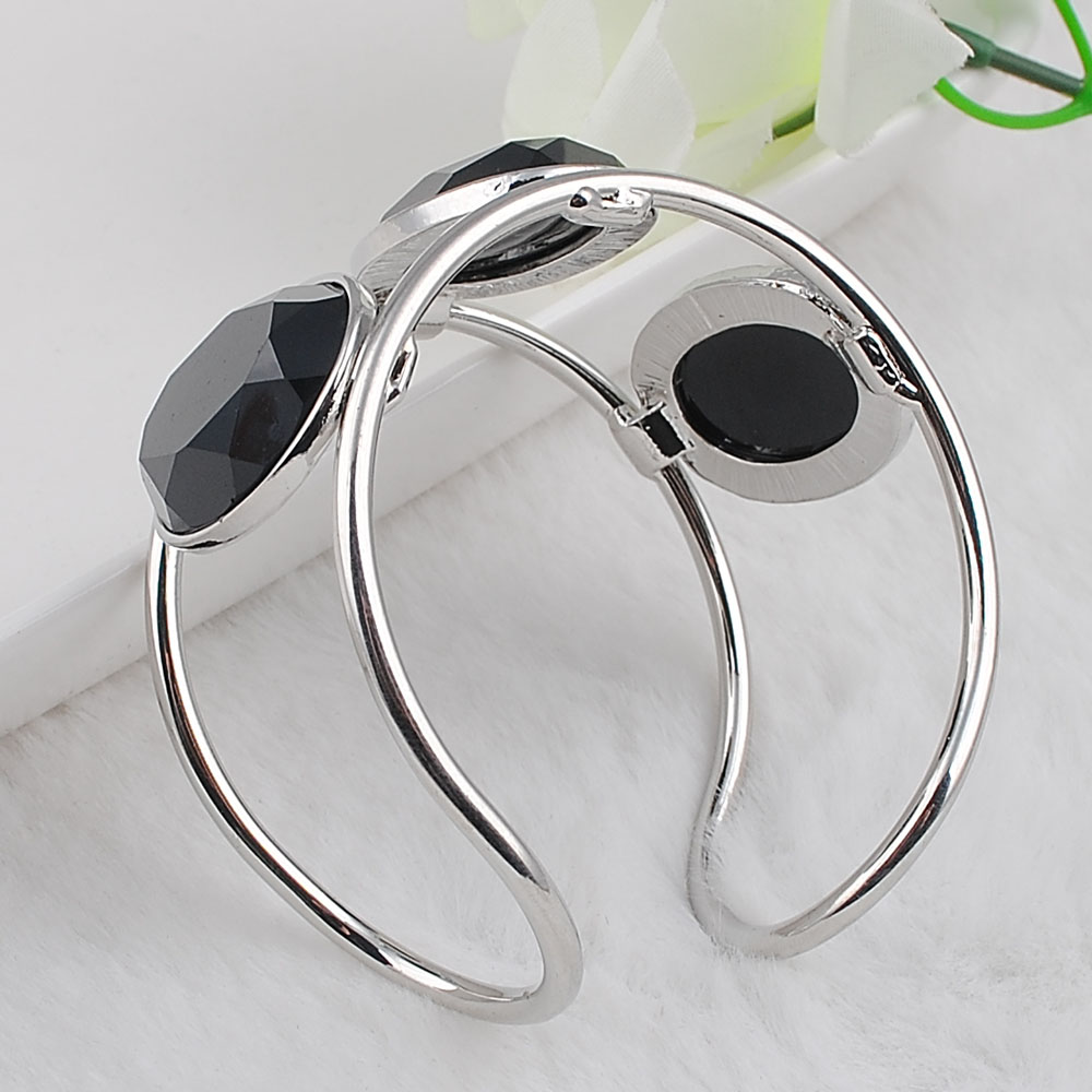 Big Cuff Bracelets For Women New Trendy Plated Round Jewelry Hollow Design Wide Bangles Bracelets 4