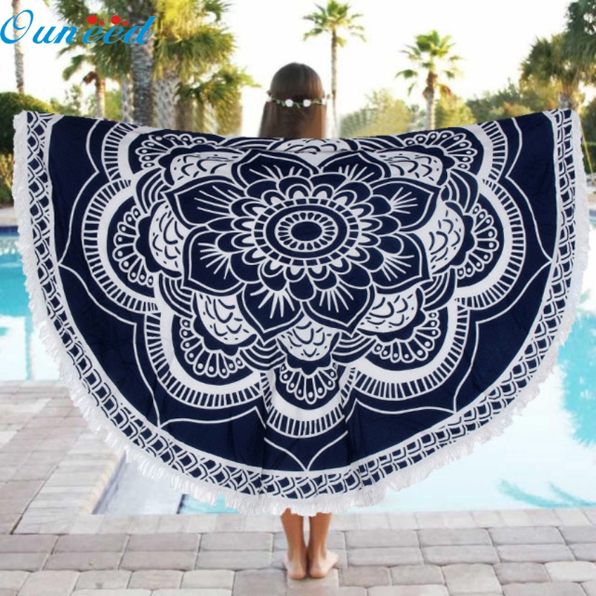 Ouneed New Beautiful Round Beach Pool Home Shower Towel Blanket Table Cloth Yoga Mat Happy Gifts Creative Bath Towel Blanket