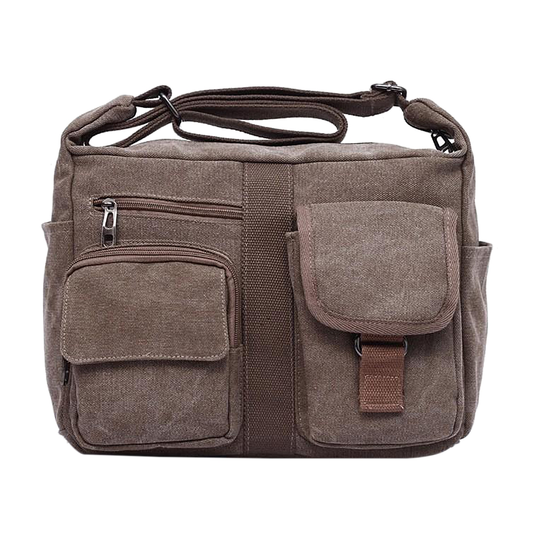 Crossbody Bag Handbag Large Man Vintage Canvas Messenger Bags (Coffee,Khaki,Black,Grey)