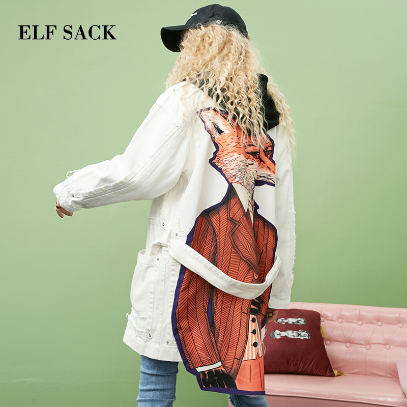 ELF SACK Autumn New Woman   Trench   Coat For Woman Cotton Casual Animal Print LonTurn-down Collar Femme   Trench   Coat Female