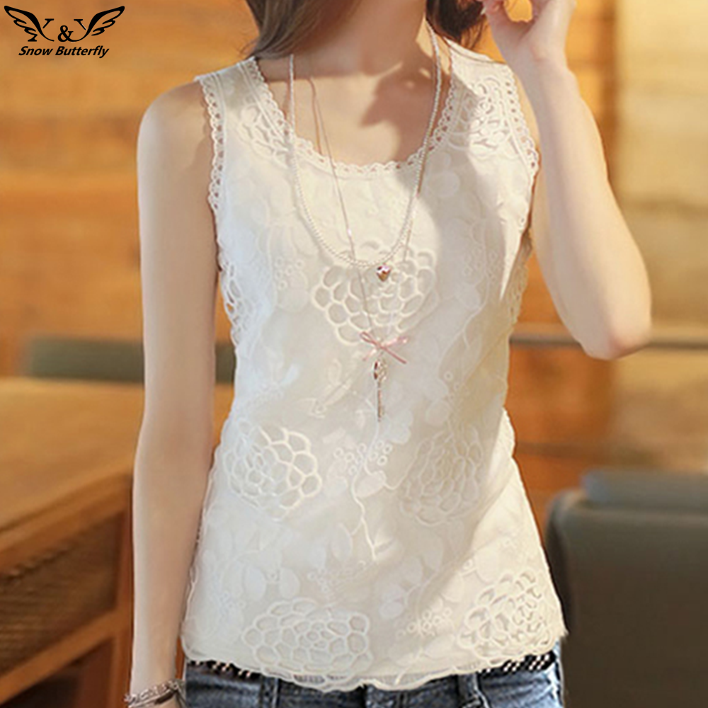 2019 High Quality Summer Cotton Blouse Shirt Women Sleeveless White Top Blouses Shirts Female Office Lace Plus Size Tops Suitable For Men, Women, And Children
