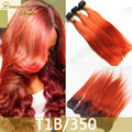 8A 1B/350 Ombre Brazilian Hair Weaves With Frontal Brazilian Virgin Hair Straight Orange Ombre Hair Extensions With Lace Frontal