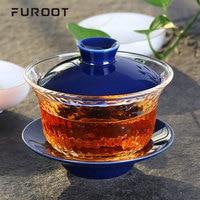 Furoot Heat Resistant Glass Gaiwan Tea Set Japanese Hammer Glass Porcelain Tea Cup Kungfu Mug Tea Ceremony Tureen in Teaware Set