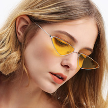 Brand Cool Small Metal Sunglasses Women Trendy Design Cat Eye Sun Glasses Men Triangle Red Yellow Color Lens Vintage Ladies