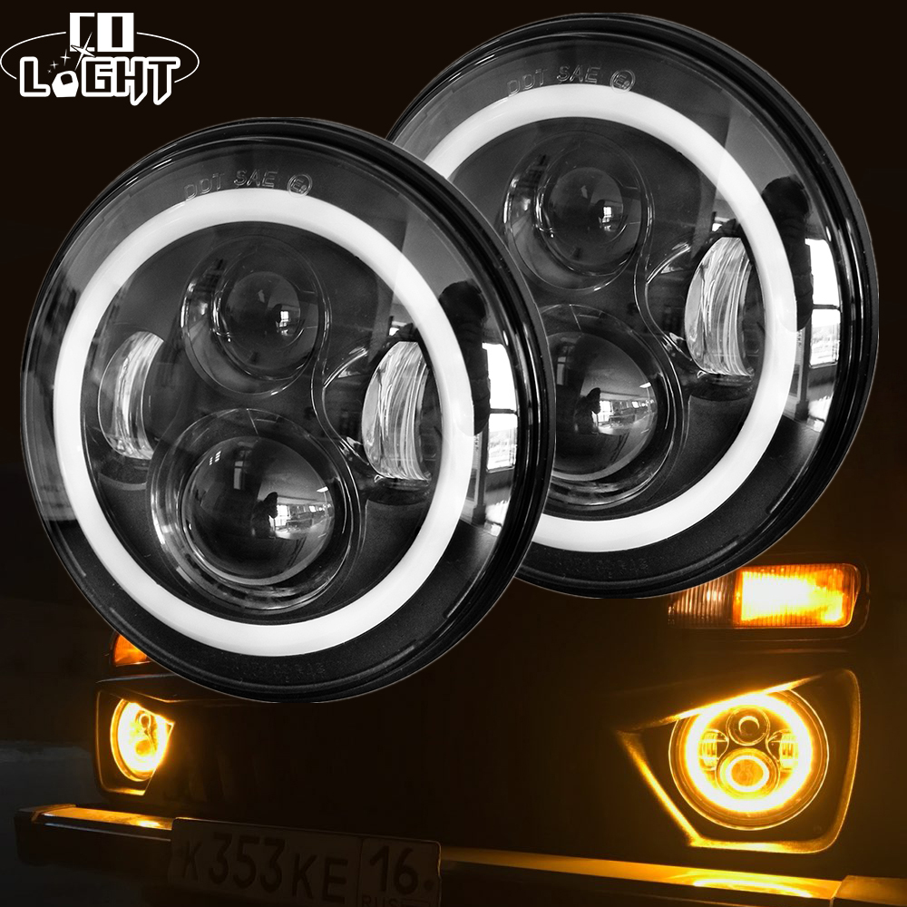 Со светом 7 дюймов светодио дный фар H4 DRL Круглый 7 ''фары с желтый и белый Ангел глаз для Jeep Wrangler Лада Нива 4x4 50 Вт 30 Вт