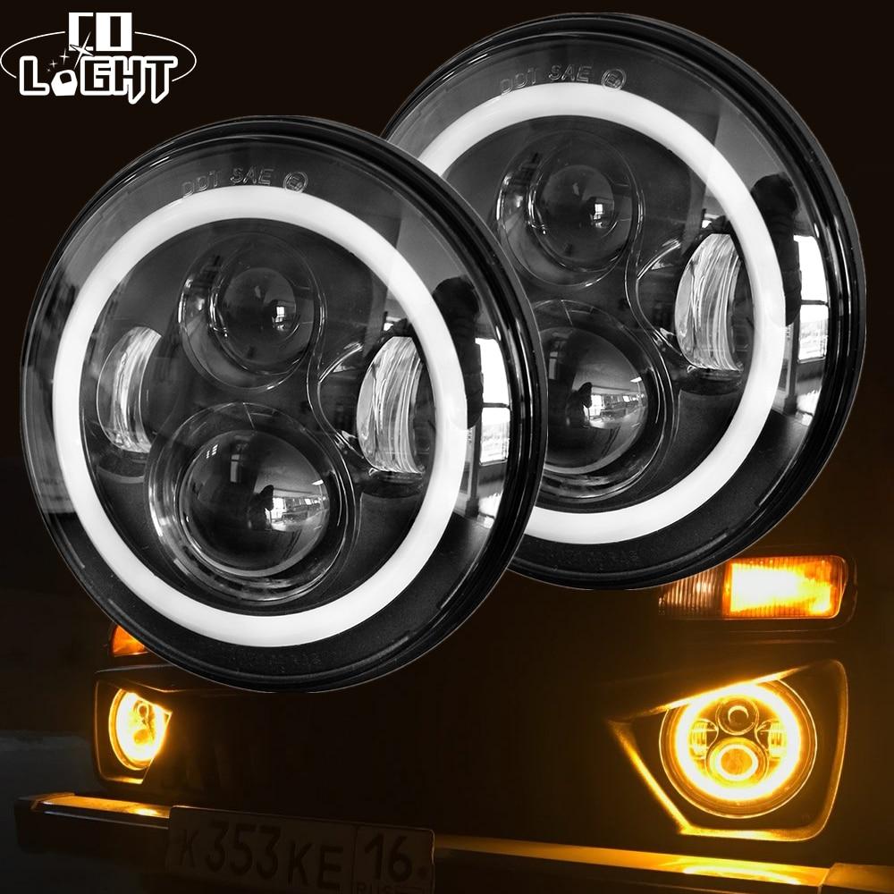 CO LUMIÈRE 7 Pouce Led Phare H4 DRL Ronde 7 ''Phares avec jaune et Blanc Angel Eye pour Jeep Wrangler Lada Niva 4x4 50 W 30 W