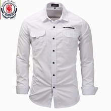 Fredd Marshall camisas de manga larga para hombre, camisa informal de algodón de talla grande 3XL, camisa blanca con botones, camisa masculina 2017