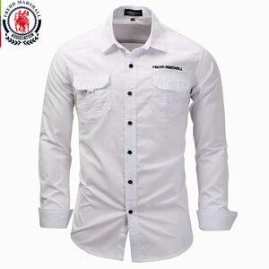 Image 1 - Fredd Marshall männer langarm shirts 2017 mode casual baumwolle hemd plus größe 3XL taste arbeit weiß hemd camisa masculina