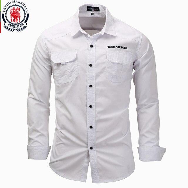 Fredd Marshall männer langarm shirts 2017 mode casual baumwolle hemd plus größe 3XL taste arbeit weiß hemd camisa masculina