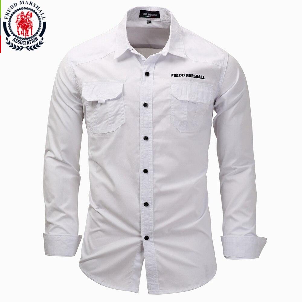 Fredd Marshall Men Long Sleeve Shirts 2017 Fashion Casual